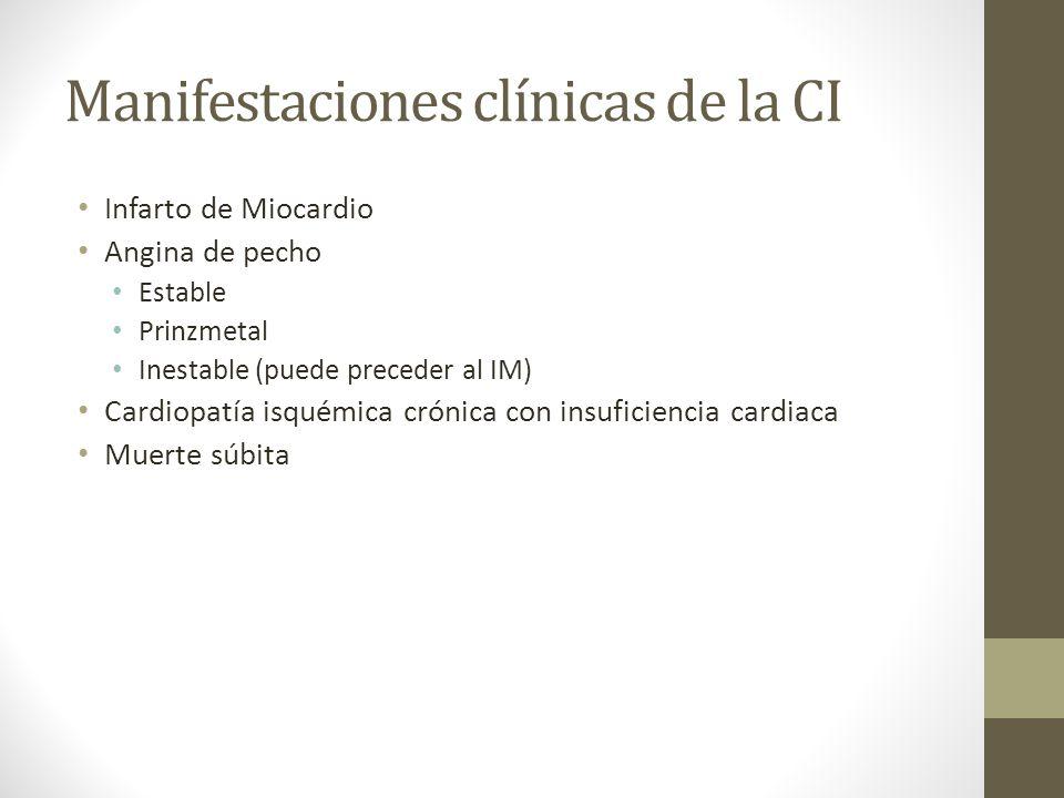 Manifestaciones clínicas de la CI Infarto de Miocardio Angina de pecho Estable Prinzmetal Inestable (puede preceder al IM) Cardiopatía isquémica crónica con insuficiencia cardiaca Muerte súbita