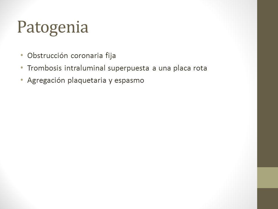 Patogenia Obstrucción coronaria fija Trombosis intraluminal superpuesta a una placa rota Agregación plaquetaria y espasmo
