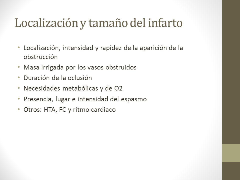 Localización y tamaño del infarto Localización, intensidad y rapidez de la aparición de la obstrucción Masa irrigada por los vasos obstruidos Duración de la oclusión Necesidades metabólicas y de O2 Presencia, lugar e intensidad del espasmo Otros: HTA, FC y ritmo cardiaco