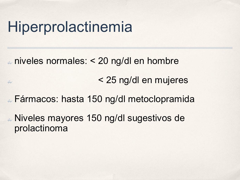 Hiperprolactinemia niveles normales: < 20 ng/dl en hombre < 25 ng/dl en mujeres Fármacos: hasta 150 ng/dl metoclopramida Niveles mayores 150 ng/dl sugestivos de prolactinoma