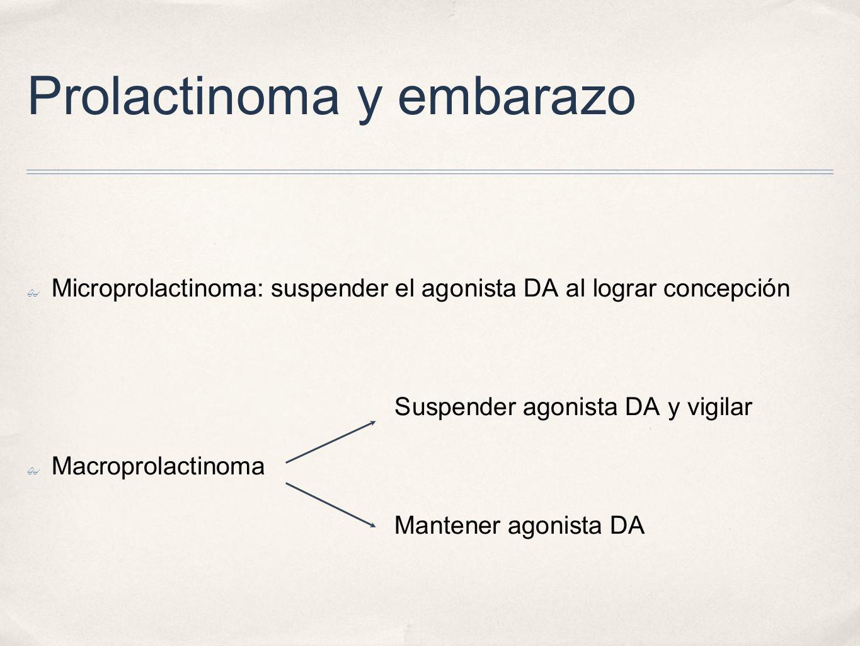 Prolactinoma y embarazo Microprolactinoma: suspender el agonista DA al lograr concepción Suspender agonista DA y vigilar Macroprolactinoma Mantener agonista DA