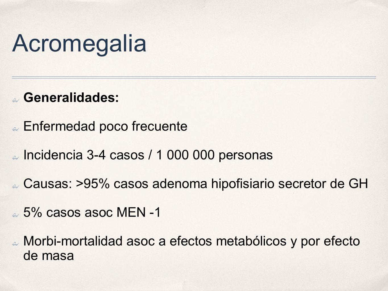 Acromegalia Generalidades: Enfermedad poco frecuente Incidencia 3-4 casos / 1 000 000 personas Causas: >95% casos adenoma hipofisiario secretor de GH 5% casos asoc MEN -1 Morbi-mortalidad asoc a efectos metabólicos y por efecto de masa