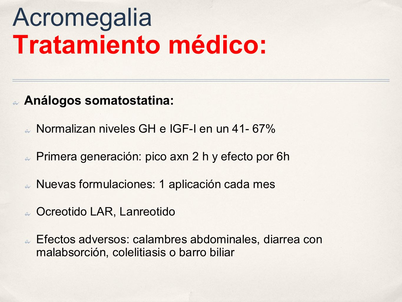 Acromegalia Tratamiento médico: Análogos somatostatina: Normalizan niveles GH e IGF-I en un 41- 67% Primera generación: pico axn 2 h y efecto por 6h Nuevas formulaciones: 1 aplicación cada mes Ocreotido LAR, Lanreotido Efectos adversos: calambres abdominales, diarrea con malabsorción, colelitiasis o barro biliar