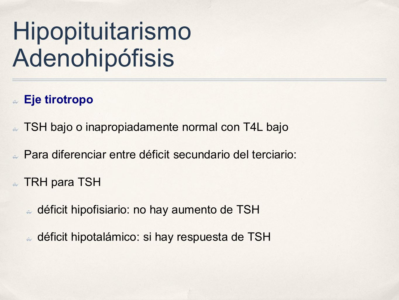 Hipopituitarismo Adenohipófisis Eje tirotropo TSH bajo o inapropiadamente normal con T4L bajo Para diferenciar entre déficit secundario del terciario: TRH para TSH déficit hipofisiario: no hay aumento de TSH déficit hipotalámico: si hay respuesta de TSH