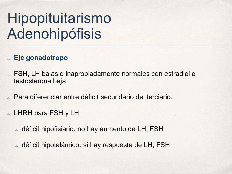 Hipopituitarismo Adenohipófisis Eje gonadotropo FSH, LH bajas o inapropiadamente normales con estradiol o testosterona baja Para diferenciar entre déficit secundario del terciario: LHRH para FSH y LH déficit hipofisiario: no hay aumento de LH, FSH déficit hipotalámico: si hay respuesta de LH, FSH