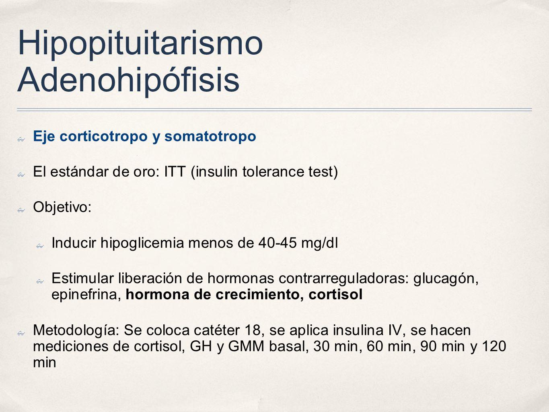 Hipopituitarismo Adenohipófisis Eje corticotropo y somatotropo El estándar de oro: ITT (insulin tolerance test) Objetivo: Inducir hipoglicemia menos d