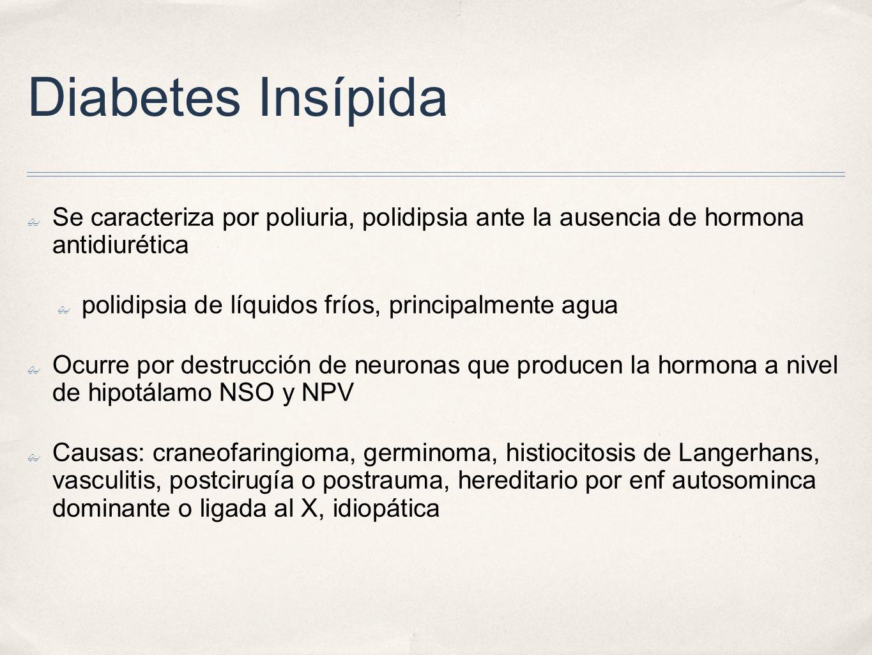 Diabetes Insípida Se caracteriza por poliuria, polidipsia ante la ausencia de hormona antidiurética polidipsia de líquidos fríos, principalmente agua