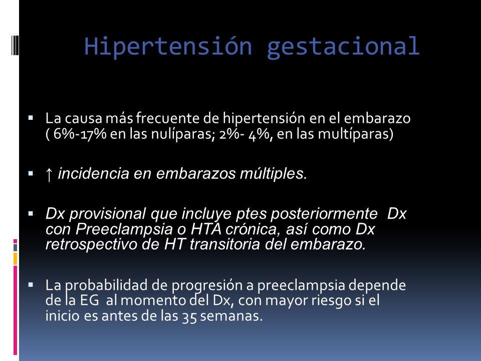 Hipertensión gestacional La causa más frecuente de hipertensión en el embarazo ( 6%-17% en las nulíparas; 2%- 4%, en las multíparas) incidencia en emb