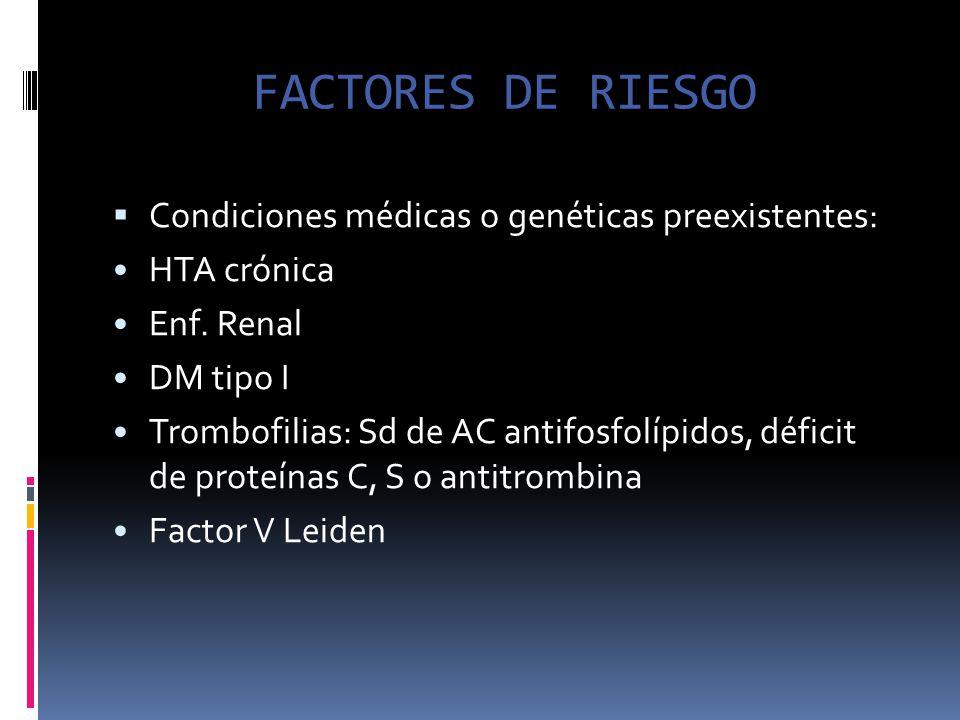 FACTORES DE RIESGO Condiciones médicas o genéticas preexistentes: HTA crónica Enf. Renal DM tipo I Trombofilias: Sd de AC antifosfolípidos, déficit de