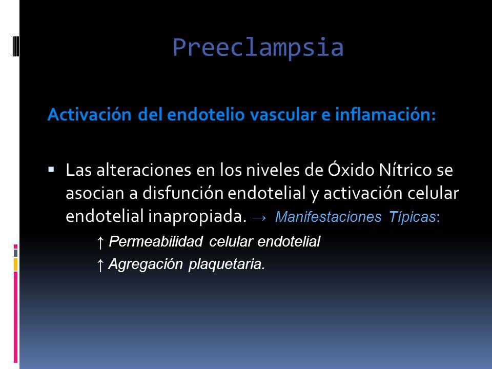 Preeclampsia Activación del endotelio vascular e inflamación: Las alteraciones en los niveles de Óxido Nítrico se asocian a disfunción endotelial y ac