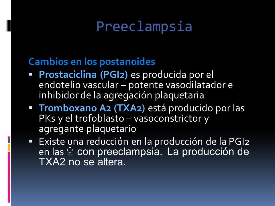 Preeclampsia Cambios en los postanoides Prostaciclina (PGI2) es producida por el endotelio vascular – potente vasodilatador e inhibidor de la agregaci