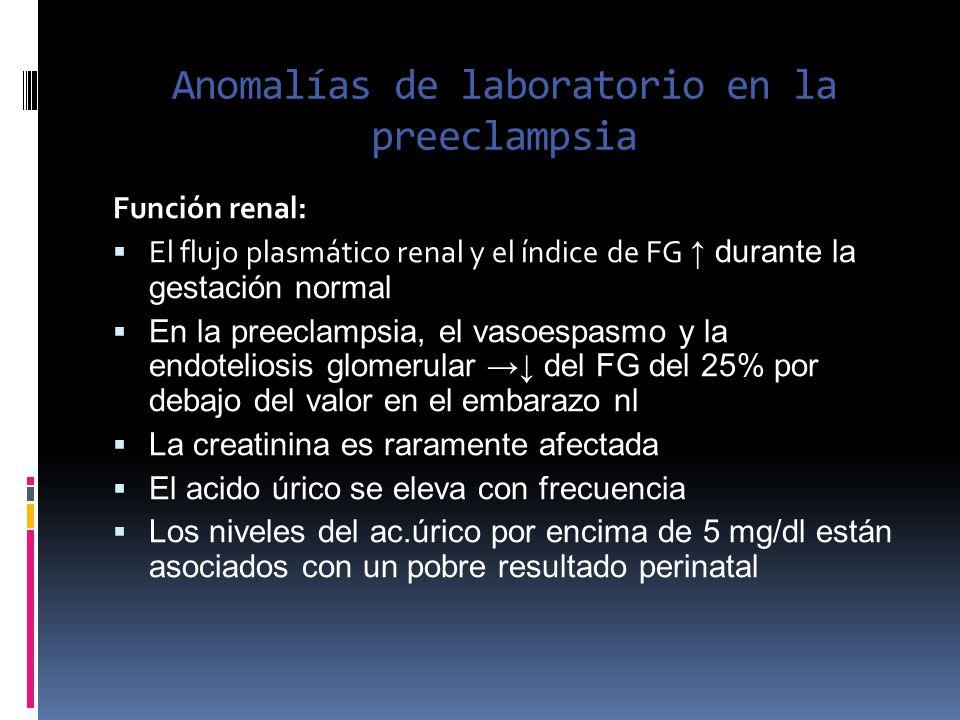 Anomalías de laboratorio en la preeclampsia Función renal: El flujo plasmático renal y el índice de FG durante la gestación normal En la preeclampsia,