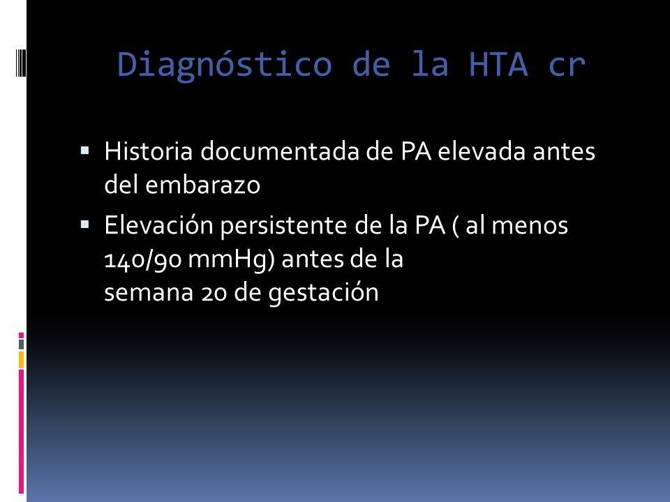Diagnóstico de la HTA cr Historia documentada de PA elevada antes del embarazo Elevación persistente de la PA ( al menos 140/90 mmHg) antes de la sema