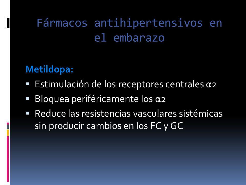 Fármacos antihipertensivos en el embarazo Metildopa: Estimulación de los receptores centrales α2 Bloquea periféricamente los α2 Reduce las resistencia