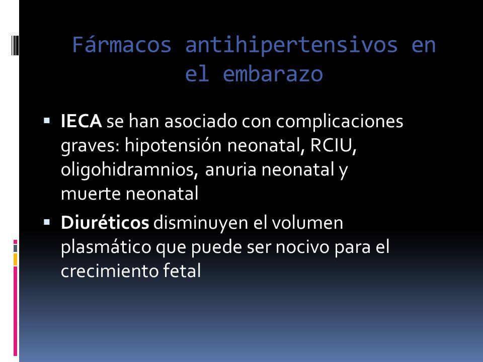 Fármacos antihipertensivos en el embarazo IECA se han asociado con complicaciones graves: hipotensión neonatal, RCIU, oligohidramnios, anuria neonatal