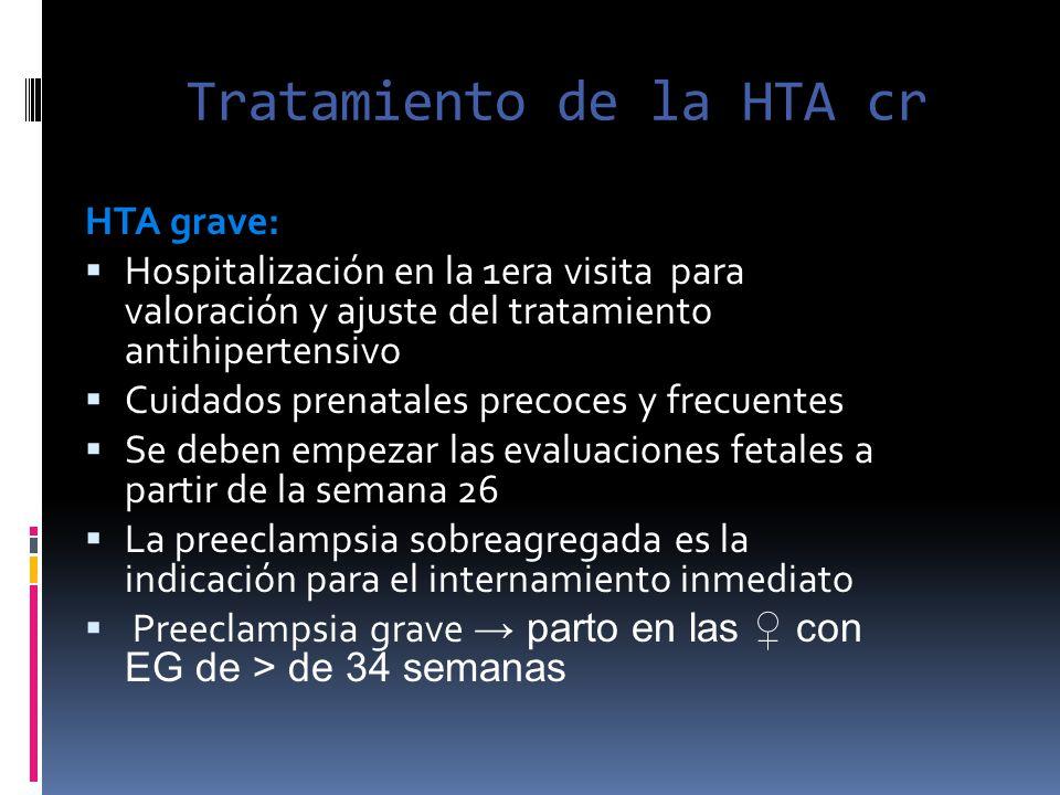 Tratamiento de la HTA cr HTA grave: Hospitalización en la 1era visita para valoración y ajuste del tratamiento antihipertensivo Cuidados prenatales pr