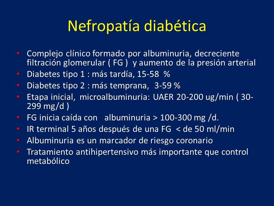 Nefropatía diabética Complejo clínico formado por albuminuria, decreciente filtración glomerular ( FG ) y aumento de la presión arterial Complejo clín