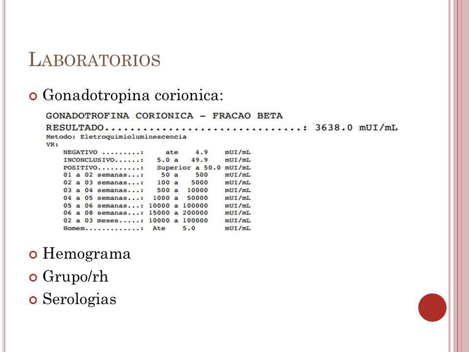 L ABORATORIOS Gonadotropina corionica: Hemograma Grupo/rh Serologias