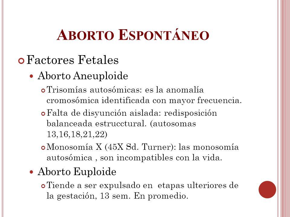 A BORTO E SPONTÁNEO Factores Fetales Aborto Aneuploide Trisomías autosómicas: es la anomalía cromosómica identificada con mayor frecuencia. Falta de d