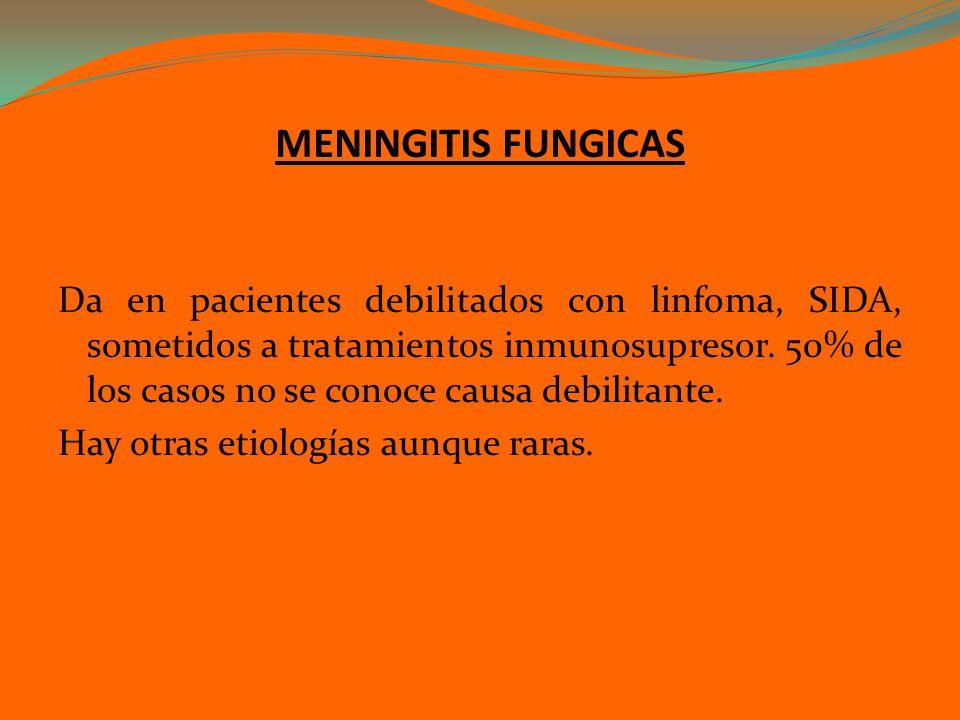 MENINGITIS FUNGICAS Da en pacientes debilitados con linfoma, SIDA, sometidos a tratamientos inmunosupresor. 50% de los casos no se conoce causa debili