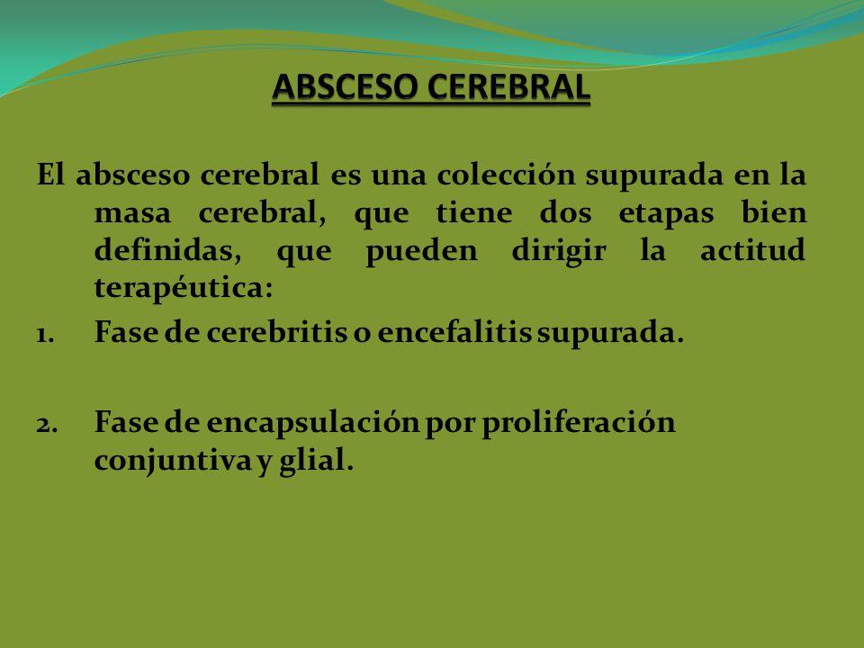 El absceso cerebral es una colección supurada en la masa cerebral, que tiene dos etapas bien definidas, que pueden dirigir la actitud terapéutica: 1.