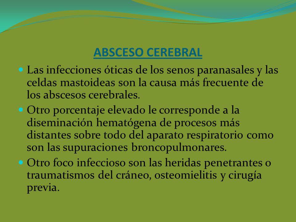 ABSCESO CEREBRAL Las infecciones óticas de los senos paranasales y las celdas mastoideas son la causa más frecuente de los abscesos cerebrales. Otro p