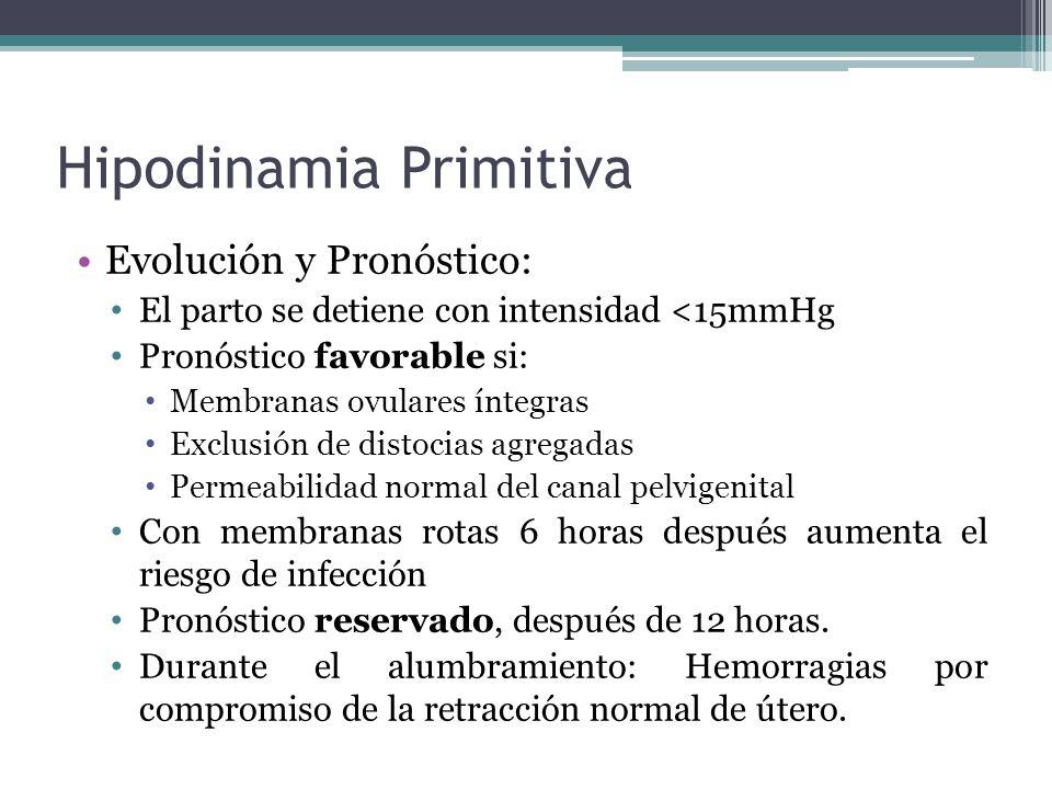 Hipodinamia Primitiva Evolución y Pronóstico: El parto se detiene con intensidad <15mmHg Pronóstico favorable si: Membranas ovulares íntegras Exclusió