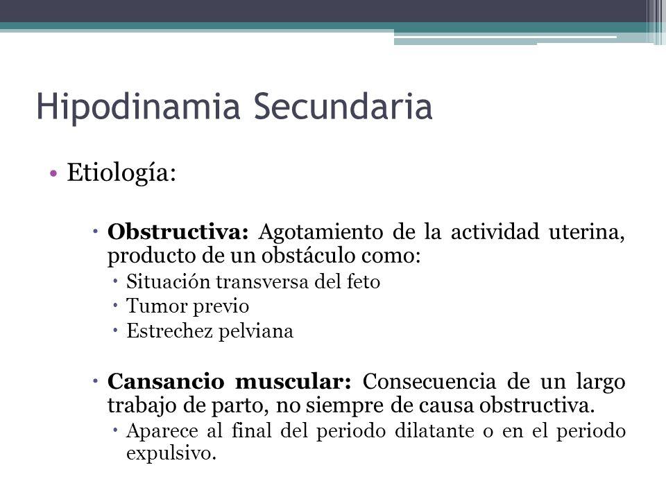 Hipodinamia Secundaria Etiología: Obstructiva: Agotamiento de la actividad uterina, producto de un obstáculo como: Situación transversa del feto Tumor