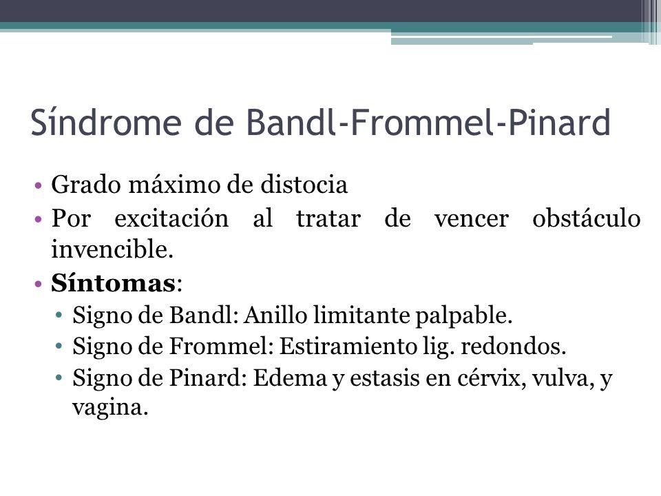 Síndrome de Bandl-Frommel-Pinard Grado máximo de distocia Por excitación al tratar de vencer obstáculo invencible. Síntomas: Signo de Bandl: Anillo li