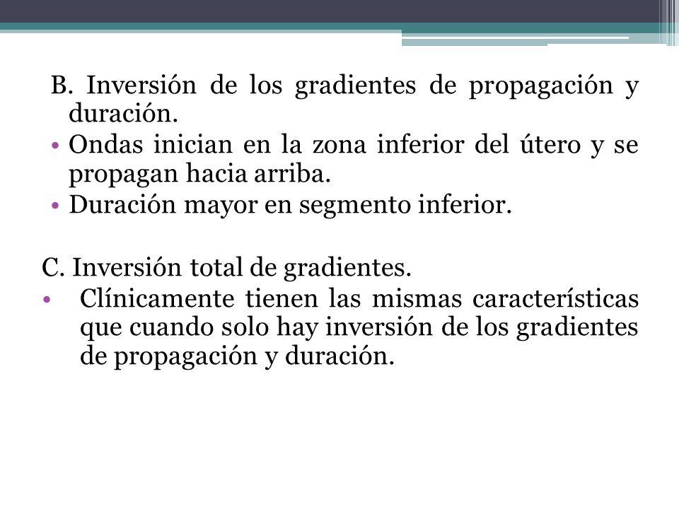 B. Inversión de los gradientes de propagación y duración. Ondas inician en la zona inferior del útero y se propagan hacia arriba. Duración mayor en se