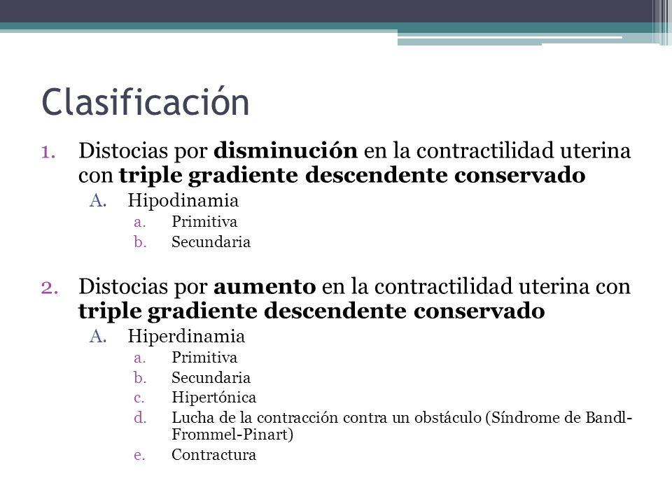 Clasificación 1.Distocias por disminución en la contractilidad uterina con triple gradiente descendente conservado A.Hipodinamia a.Primitiva b.Secunda