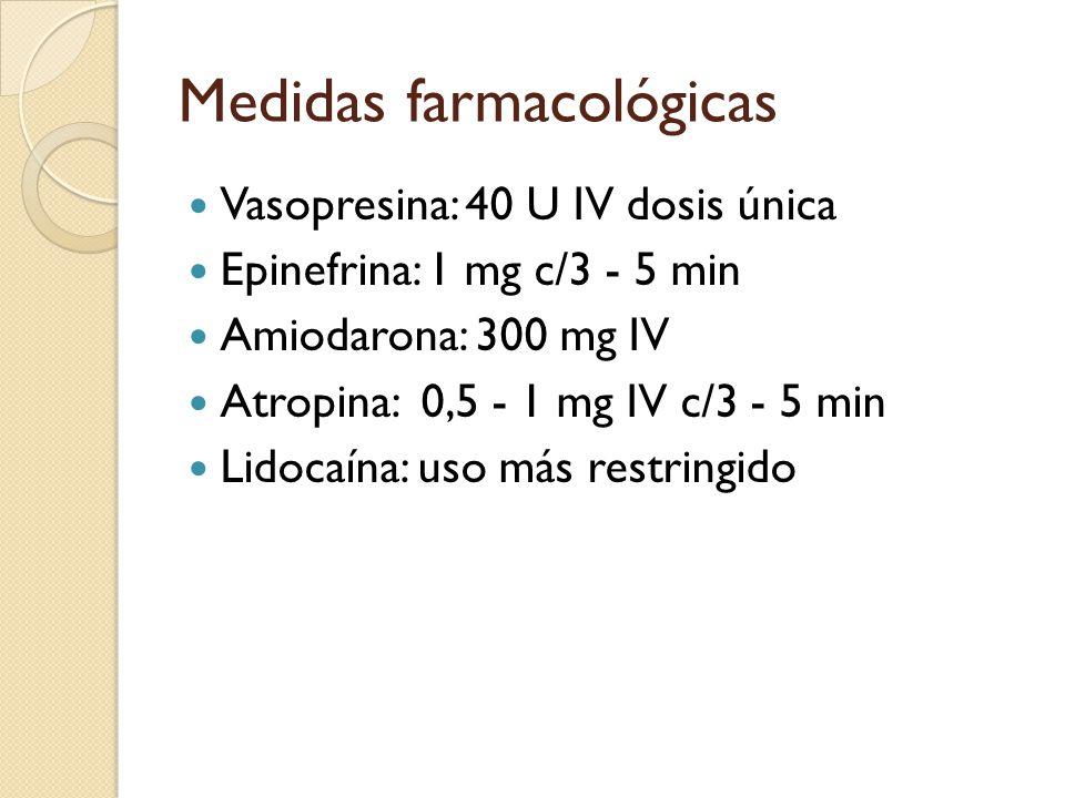 Medidas farmacológicas Vasopresina: 40 U IV dosis única Epinefrina: 1 mg c/3 - 5 min Amiodarona: 300 mg IV Atropina: 0,5 - 1 mg IV c/3 - 5 min Lidocaí