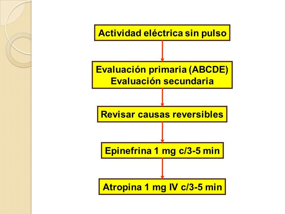 Causas reversibles Hipovolemia Hipoxia Hidrogenión Hipo/hipercalemia Hipotermia Tabletas Taponamiento cardíaco Tensión, neumotórax Trombosis coronaria Trombosis pulmonar T = Tortas