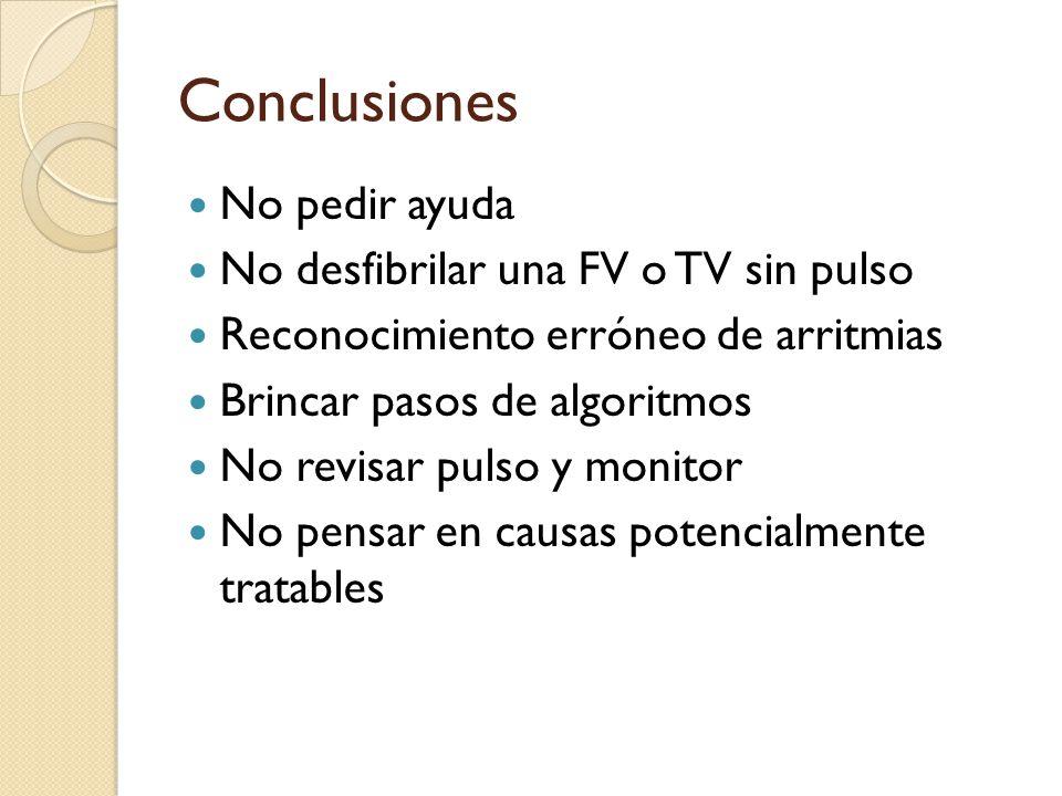 Conclusiones No pedir ayuda No desfibrilar una FV o TV sin pulso Reconocimiento erróneo de arritmias Brincar pasos de algoritmos No revisar pulso y mo