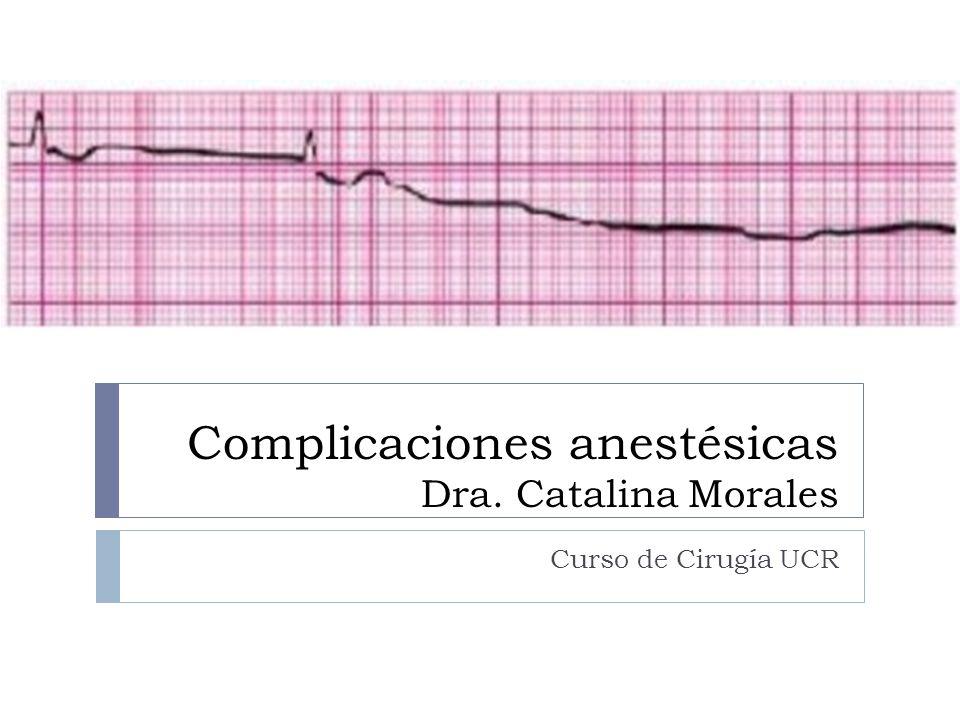 Complicaciones anestésicas Dra. Catalina Morales Curso de Cirugía UCR