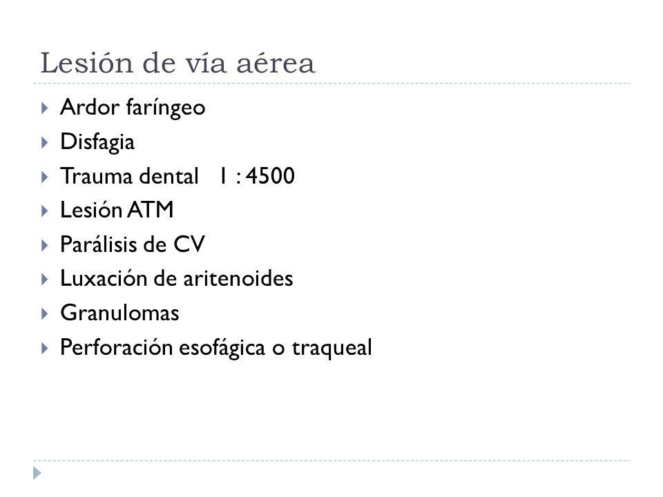 Lesión de vía aérea Ardor faríngeo Disfagia Trauma dental 1 : 4500 Lesión ATM Parálisis de CV Luxación de aritenoides Granulomas Perforación esofágica