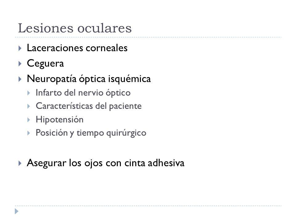 Lesiones oculares Laceraciones corneales Ceguera Neuropatía óptica isquémica Infarto del nervio óptico Características del paciente Hipotensión Posici