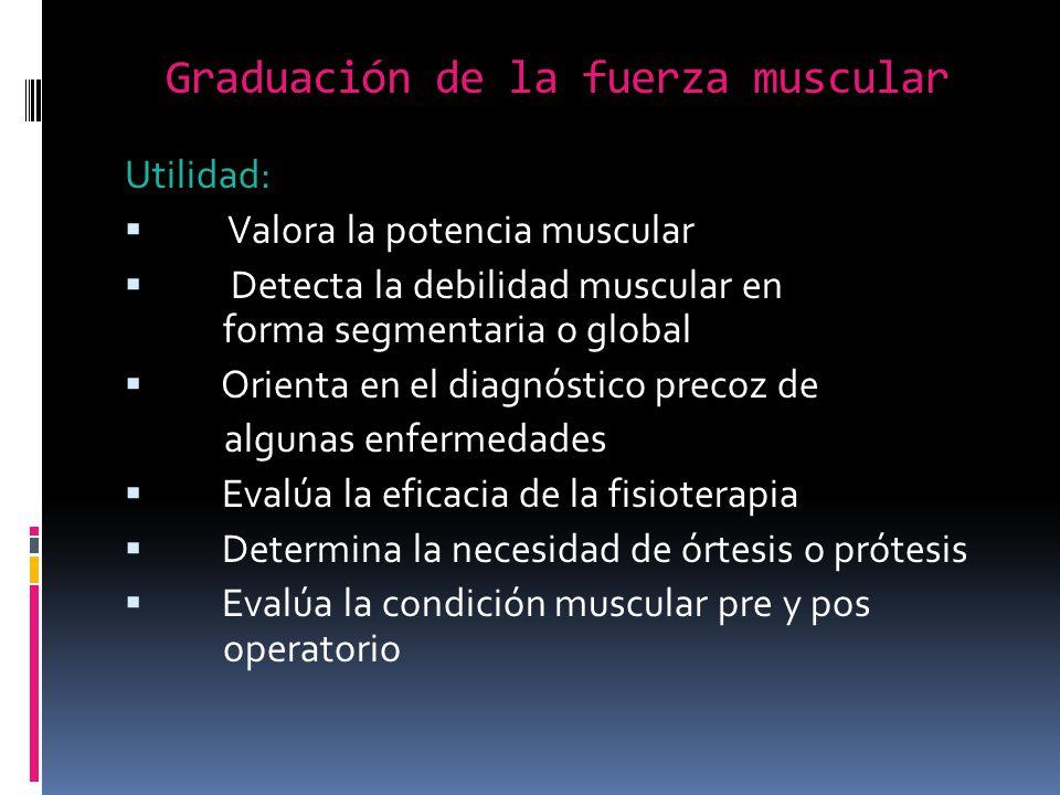 Graduación de la fuerza muscular Utilidad: Valora la potencia muscular Detecta la debilidad muscular en forma segmentaria o global Orienta en el diagn