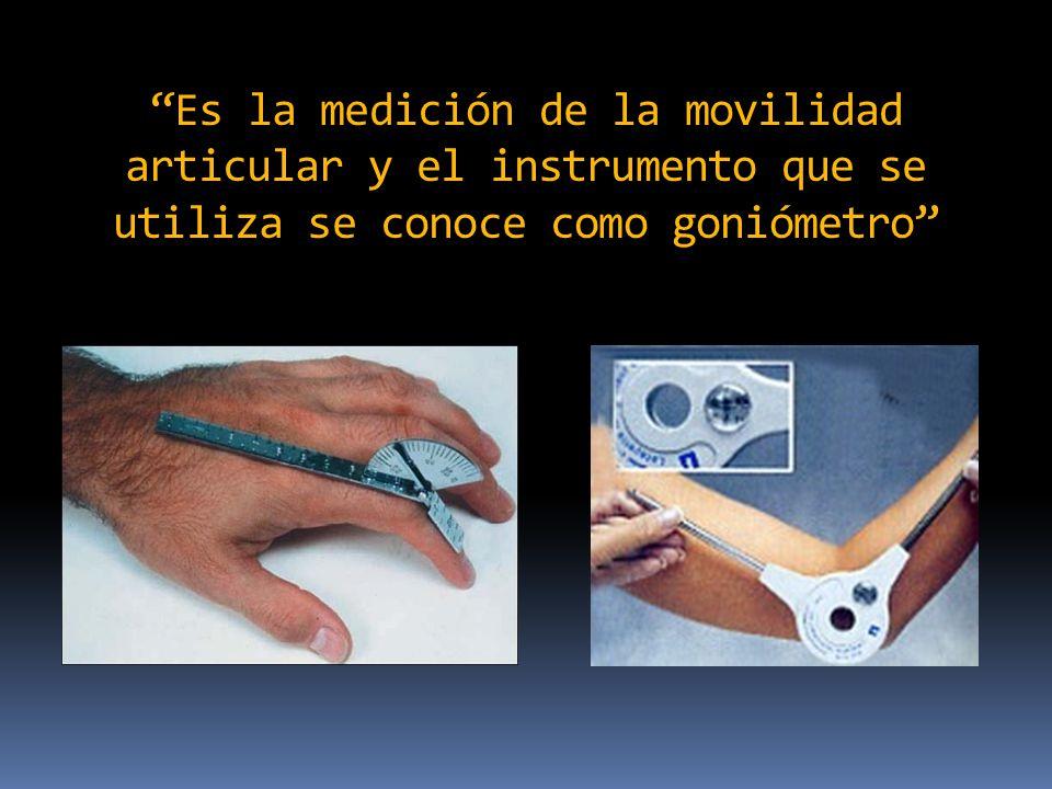 Características de un goniómetro: Se compone de dos brazos: con un indicador en uno de ellos y una escala transportadora en el otro unidos por un vértice La longitud promedio de un goniómetro portátil es de 15 cms.