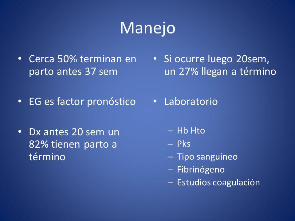 Manejo Cerca 50% terminan en parto antes 37 sem EG es factor pronóstico Dx antes 20 sem un 82% tienen parto a término Si ocurre luego 20sem, un 27% ll