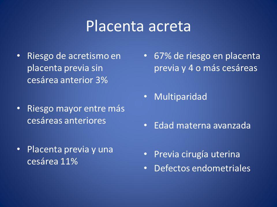 Placenta acreta Riesgo de acretismo en placenta previa sin cesárea anterior 3% Riesgo mayor entre más cesáreas anteriores Placenta previa y una cesáre