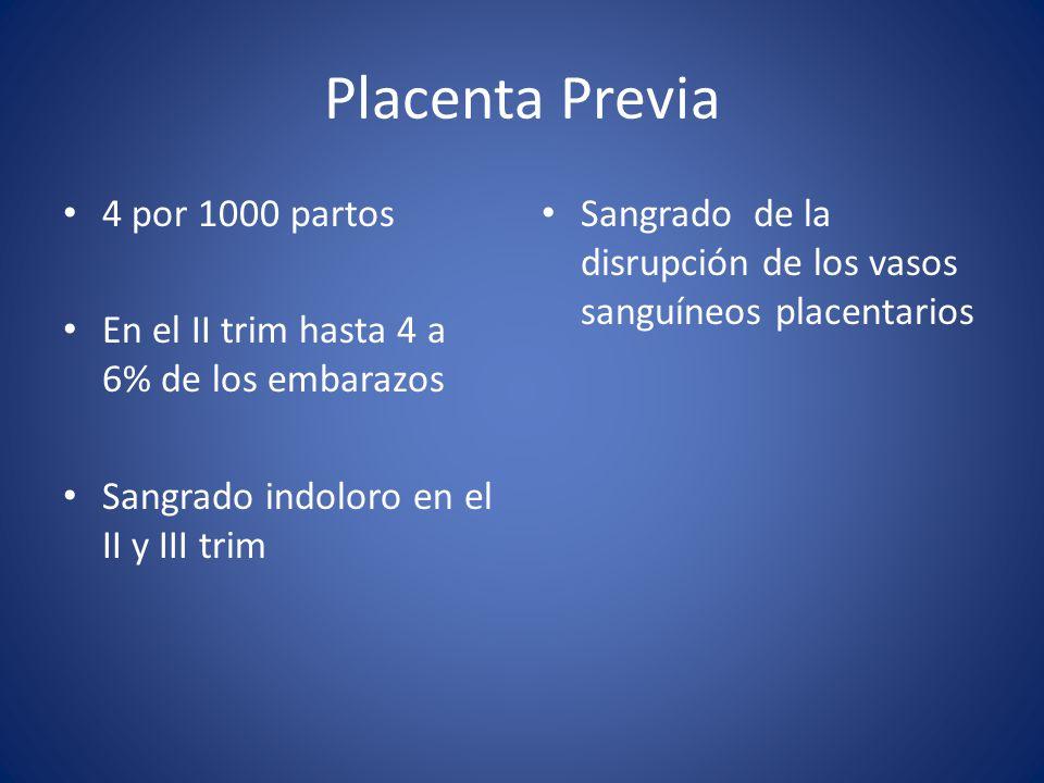Placenta Previa 4 por 1000 partos En el II trim hasta 4 a 6% de los embarazos Sangrado indoloro en el II y III trim Sangrado de la disrupción de los v