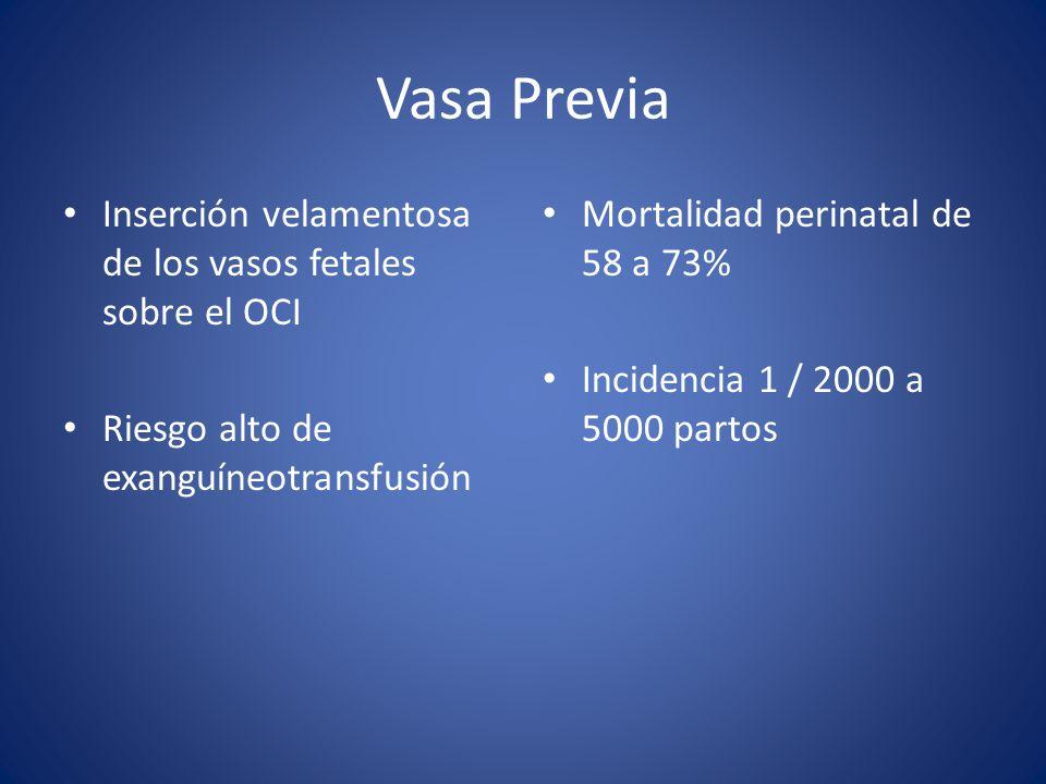 Vasa Previa Inserción velamentosa de los vasos fetales sobre el OCI Riesgo alto de exanguíneotransfusión Mortalidad perinatal de 58 a 73% Incidencia 1