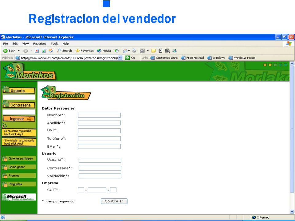 Registracion del vendedor