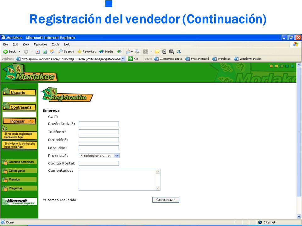 Registración del vendedor (Continuación)