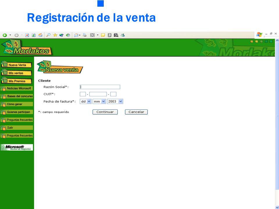 Registración de la venta