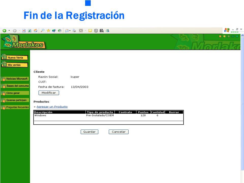 Fin de la Registración