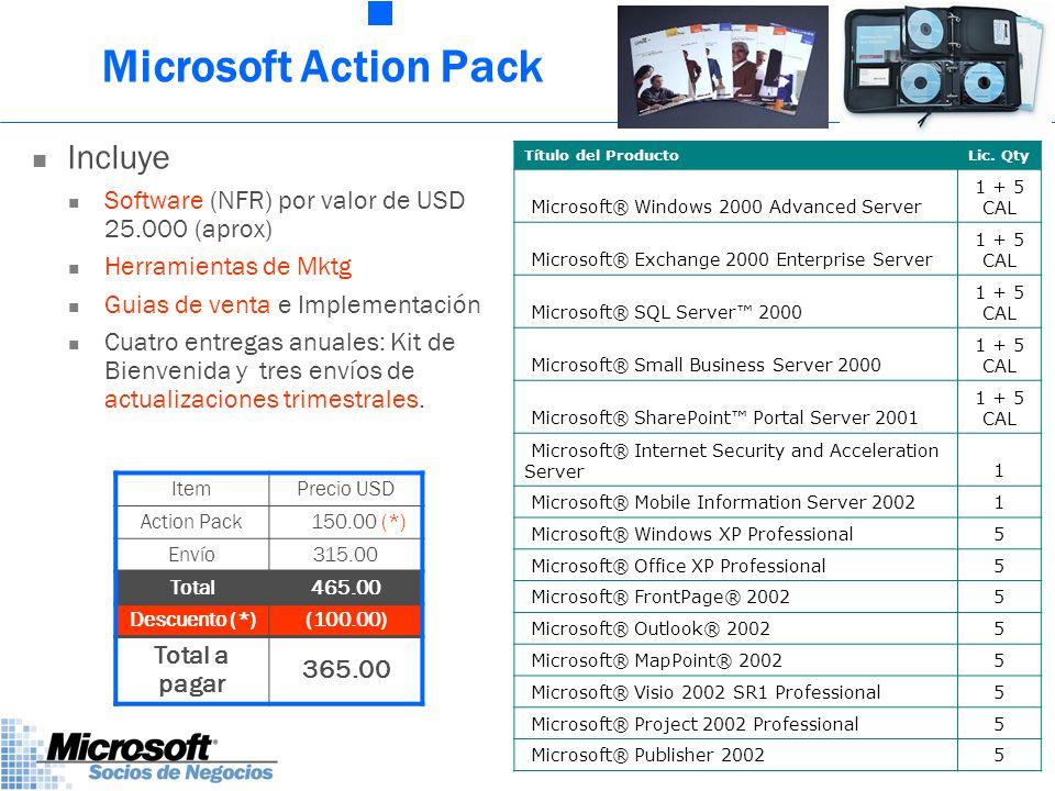 Microsoft Action Pack Incluye Software (NFR) por valor de USD 25.000 (aprox) Herramientas de Mktg Guias de venta e Implementación Cuatro entregas anuales: Kit de Bienvenida y tres envíos de actualizaciones trimestrales.