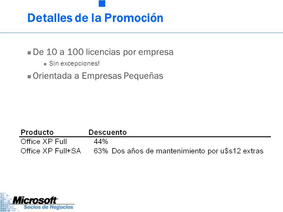 Detalles de la Promoción De 10 a 100 licencias por empresa Sin excepciones.