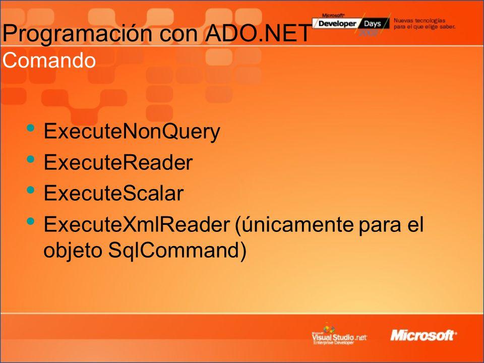 ExecuteNonQuery ExecuteReader ExecuteScalar ExecuteXmlReader (únicamente para el objeto SqlCommand) Programación con ADO.NET Comando